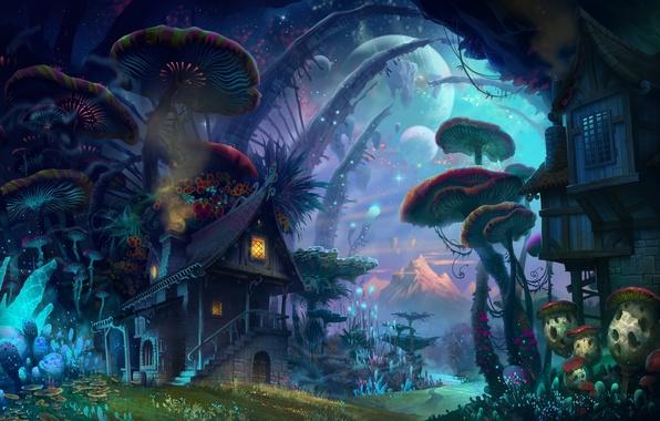 Картинка лес, небо, свет, дом, луна, грибы, гриб, планеты, Фэнтези, Фантастика