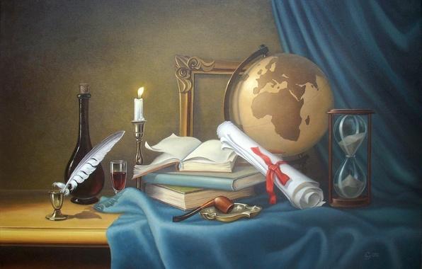 Картинка перо, книги, свеча, трубка, натюрморт, глобус, песочные часы, чернильница