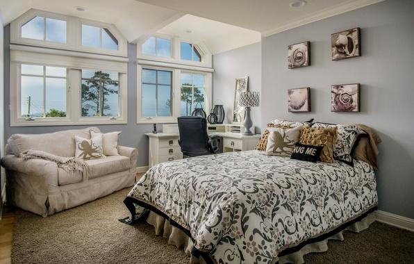 Фото обои диван, дизайн, стол, спальня, кровать, окна