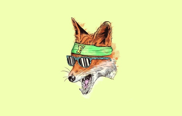 Картинка Минимализм, арт, очки, лиса, fox, yellow, art