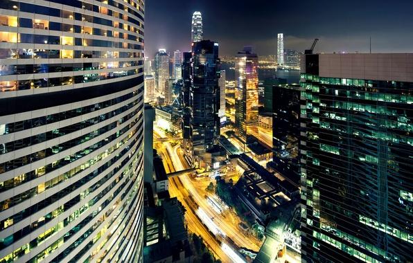 Картинка свет, ночь, город, огни, здания, дороги, дома, Гонконг, небоскребы, освещение, Китай, Азия, гавань, Hong Kong, …