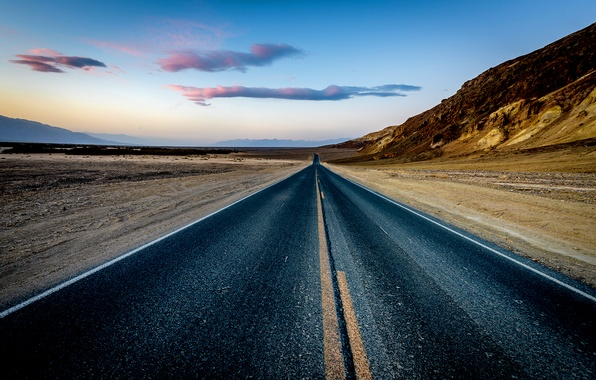 Картинка rock, road, desert, sunset, mountain, sand, dusk, highway