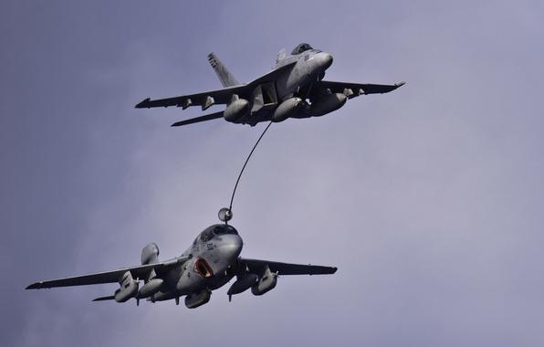 Картинка полет, самолёты, Grumman, Prowler, Hornet, CF-18, EA-6