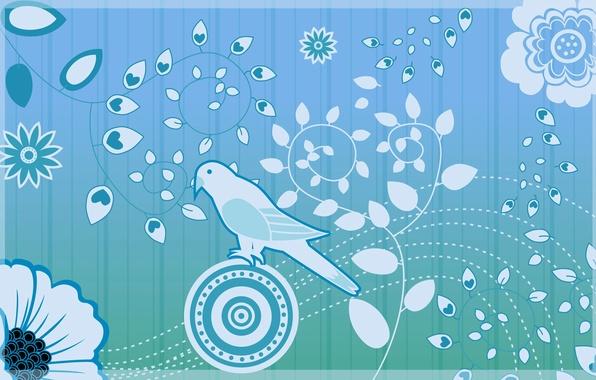 Картинка цветок, листья, птица, обои, рисунок, растение