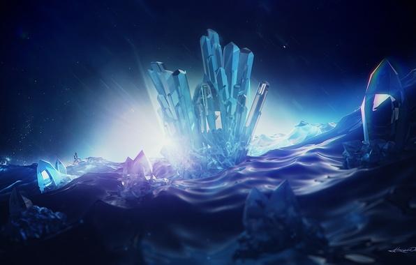 Картинка свет, кристаллы, rendering, digital art, lacza