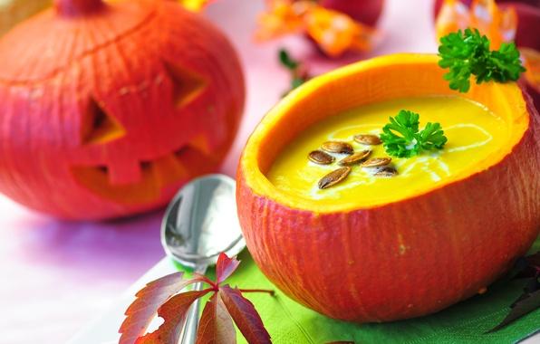 Картинка петрушка, Halloween, тыква, семечки, праздник, Хэллоуин, суп