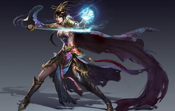 Картинка девушка, фон, магия, меч, фэнтези, арт, маг, плащ