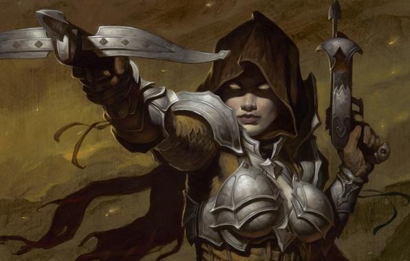 Картинка женщина, Diablo 3, арбалет, Demon Hunter, Охотник на демонов