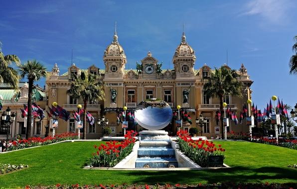 Картинка пальмы, маки, зеркало, фонтан, Monaco, казино, дворец, скульптуры, Monte-Carlo