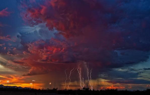Картинка гроза, небо, тучи, молнии, вечер, Аризона