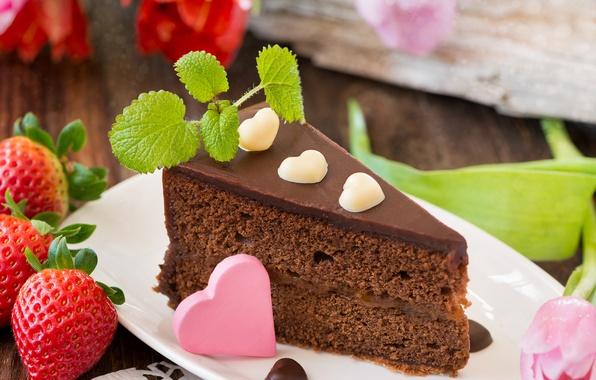 Картинка цветы, ягоды, шоколад, клубника, сердечки, тюльпаны, торт, мята, десерт, сладкое, бисквит