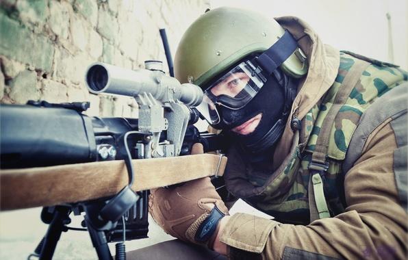 Картинка маска, солдат, шлем, снайпер, боец, россия, свд, прицел, мвд, комуфляж, собр