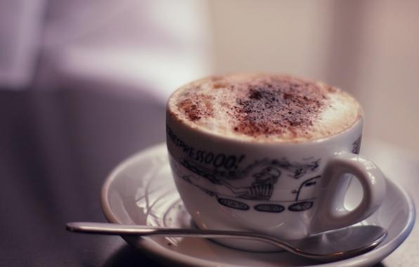 Картинка тепло, фон, настроение, узор, кофе, еда, шоколад, молоко, тарелка, ложка, кружка, чашка, посуда, капучино, широкоформатные …