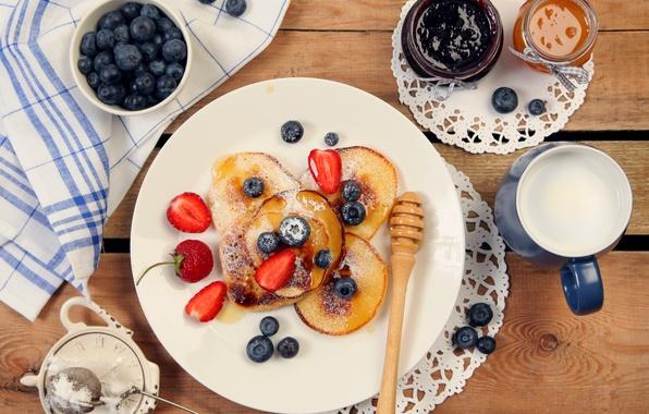 Картинка еда, молоко, черника, клубника, блины, десерт, food, dessert, milk, pancakes, blueberries, strawberries