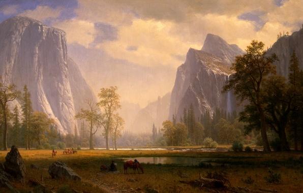 Картинка картина, живопись, painting, Albert Bierstadt, Looking Up the Yosemite Valley
