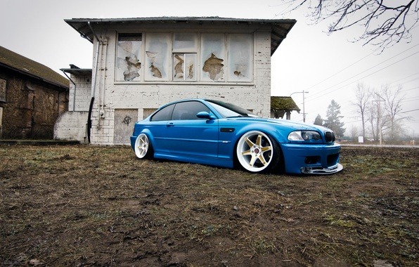 Картинка BMW, wheels, blue, tuning, E46
