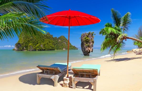 Картинка песок, море, пляж, небо, солнце, острова, тропики, камни, пальмы, скалы, отдых, берег, зонт, горизонт, шезлонг, …