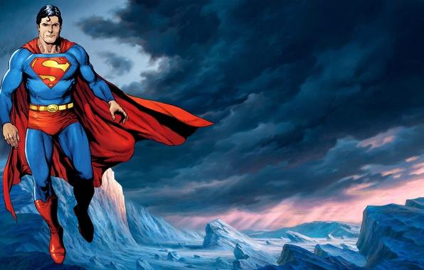 Картинка полет, рисунок, костюм, символ, мужчина, superman, плащ, супермен, супергерой, супермэн