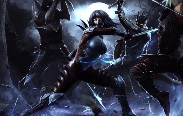 Картинка девушка, ночь, оружие, фантастика, луна, бой, арт, нападение, броня, битва