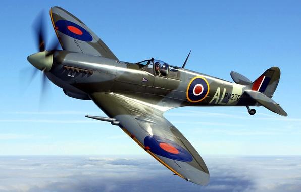 Картинка небо, полет, самолет, истребитель, пропеллер, Spitfire, разведчик, перехватчик, Supermarine, спитфайр, супермарин