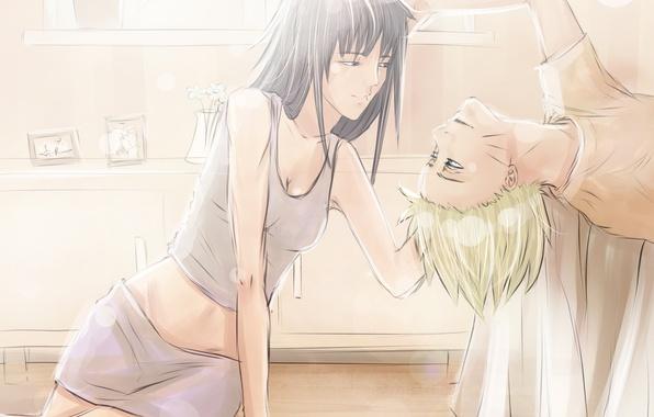 Картинка девушка, аниме, арт, парень, Наруто, Naruto, Naruto Uzumaki, Hyuuga Hinata, iddrif