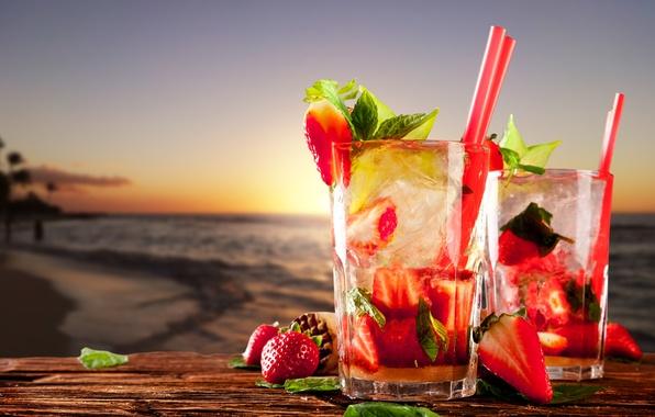 Картинка море, пляж, клубника, напитки, beach, sea, strawberry, drinks, cocktails, листья мяты, коктейли клубничные, mint leaves