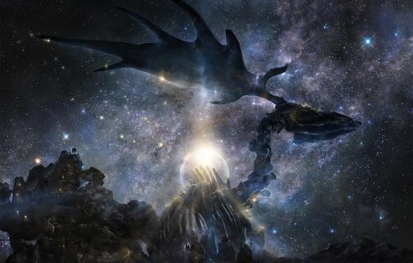 Фото обои звезды, горы, ночь, люди, луна, арт, скелет, рога, лось, звездное небо, гигантский, iy tujiki