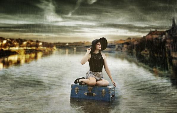 Картинка девушка, дождь, чемодан