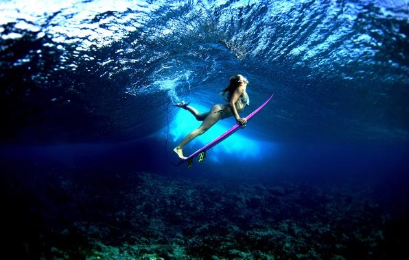 Картинка вода, девушка, океан, спорт, серфинг, доска, surfing