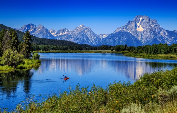 Картинка Вайоминг, Wyoming, Гранд-Титон, Grand Teton National Park, Mount Moran, Snake River, Гора Моран, река Снейк