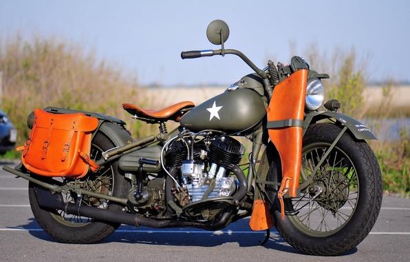 Картинка модель, войны, мотоцикл, военный, Harley-Davidson, мировой, Второй, времён, 1942г., WLA