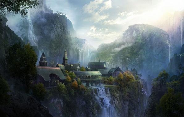 Картинка пейзаж, горы, город, арт, The Lord of the Rings, Rivendell