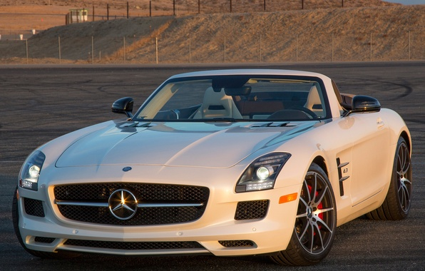 Картинка белый, Roadster, Mercedes-Benz, суперкар, мерс, AMG, SLS