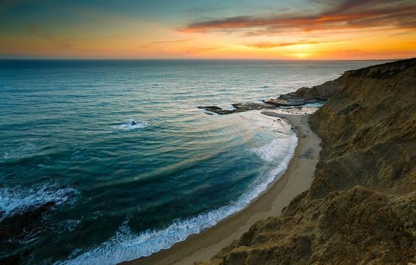 Картинка море, волны, пляж, небо, закат, скалы, берег
