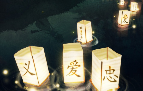 Картинка Вода, фонари, иероглифы