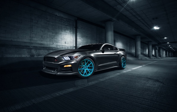 Картинка Mustang, Ford, Blue, Front, Vossen, Wheels, Roush X