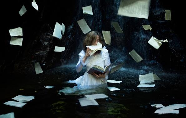 Картинка девушка, поиск, книга, страницы, Lichon, the tentative search