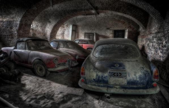 Фото обои машины, гараж, лом