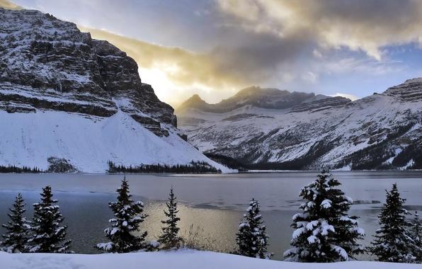Картинка light, Alberta, trees, mountains, clouds, snow, Bow Lake