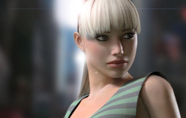 Картинка глаза, взгляд, девушка, свет, лицо, рендеринг, фон, волосы, блондинка, хвост