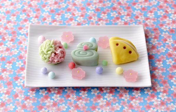 Картинка шарики, фон, еда, конфеты, сладости, цветочный, мармелад