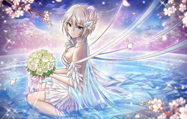 Картинка девушка, цветы, улыбка, букет, аниме, лепестки, сакура, арт, anastasia, idolmaster, syrinxwell311, idolmaster cinderella girls