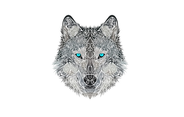 Картинка морда, стиль, волк, собака, голова, wolf
