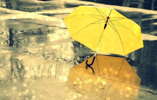 Картинка мокро, вода, капли, желтый, блики, отражение, зонтик, фон, дождь, зонт, разное, широкоформатные, полноэкранные, HD wallpapers, …