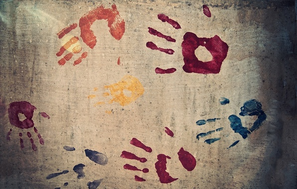 Картинка стена, краска, рука, текстура, пальцы, отпечаток, отпечатки, colours
