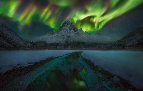 Картинка зима, лес, небо, вода, звезды, облака, снег, горы, ночь, отражение, лёд, северное сияние