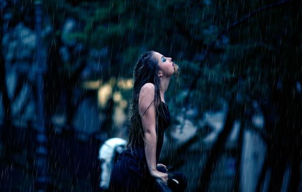 Картинка девушка, дождь, страсть, мокрая, тату, Liberation, Alessandro Di Cicco