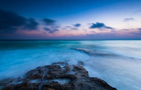 Картинка море, небо, вода, облака, пейзаж, река, фон, океан, голубой, widescreen, обои, горизонт, wallpaper, sea, ocean, …