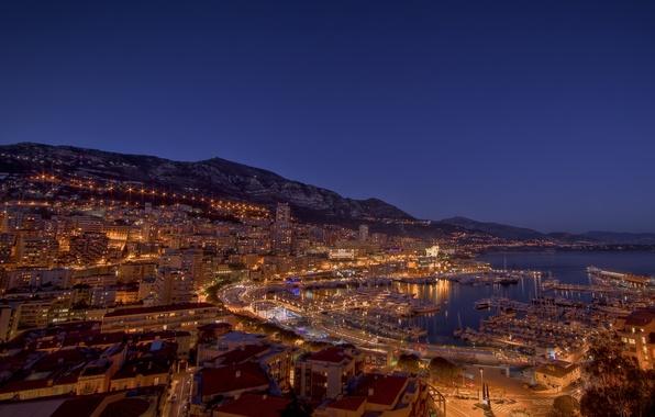 Картинка море, вода, свет, ночь, огни, фото, океан, улица, берег, дома, улицы, страна, ночные города страны