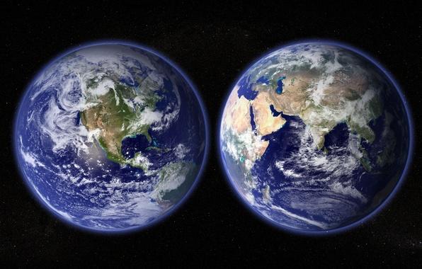 Картинка космос, звезды, планета, Земля, материки, полушария, океаны